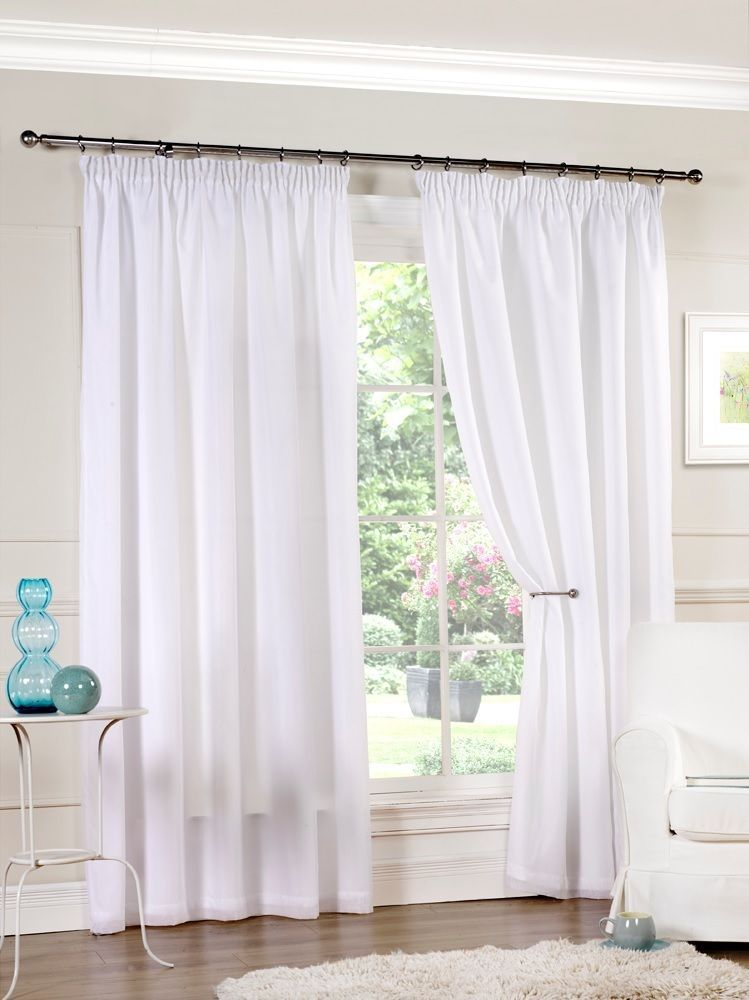 White Luxury Lined Pencil Pleat Voile Curtains