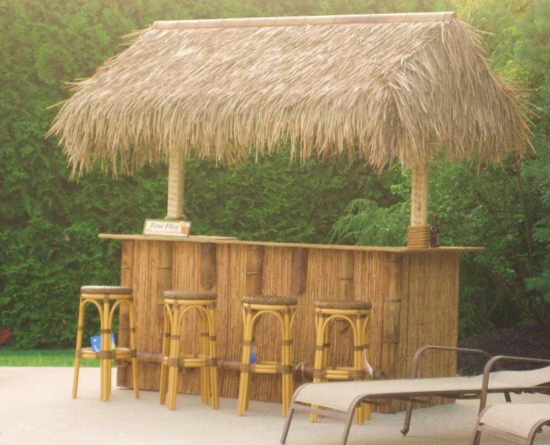 Tiki Bar In Back With Thatch Roof Bamboo Outdoor Tiki Bar
