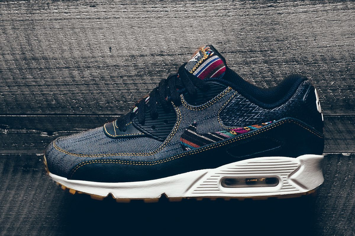 info for 0b7f4 8a6af ... Nike Dresses the Air Max 90 Premium in Denim Colorful Patterns - EU  Kicks ...
