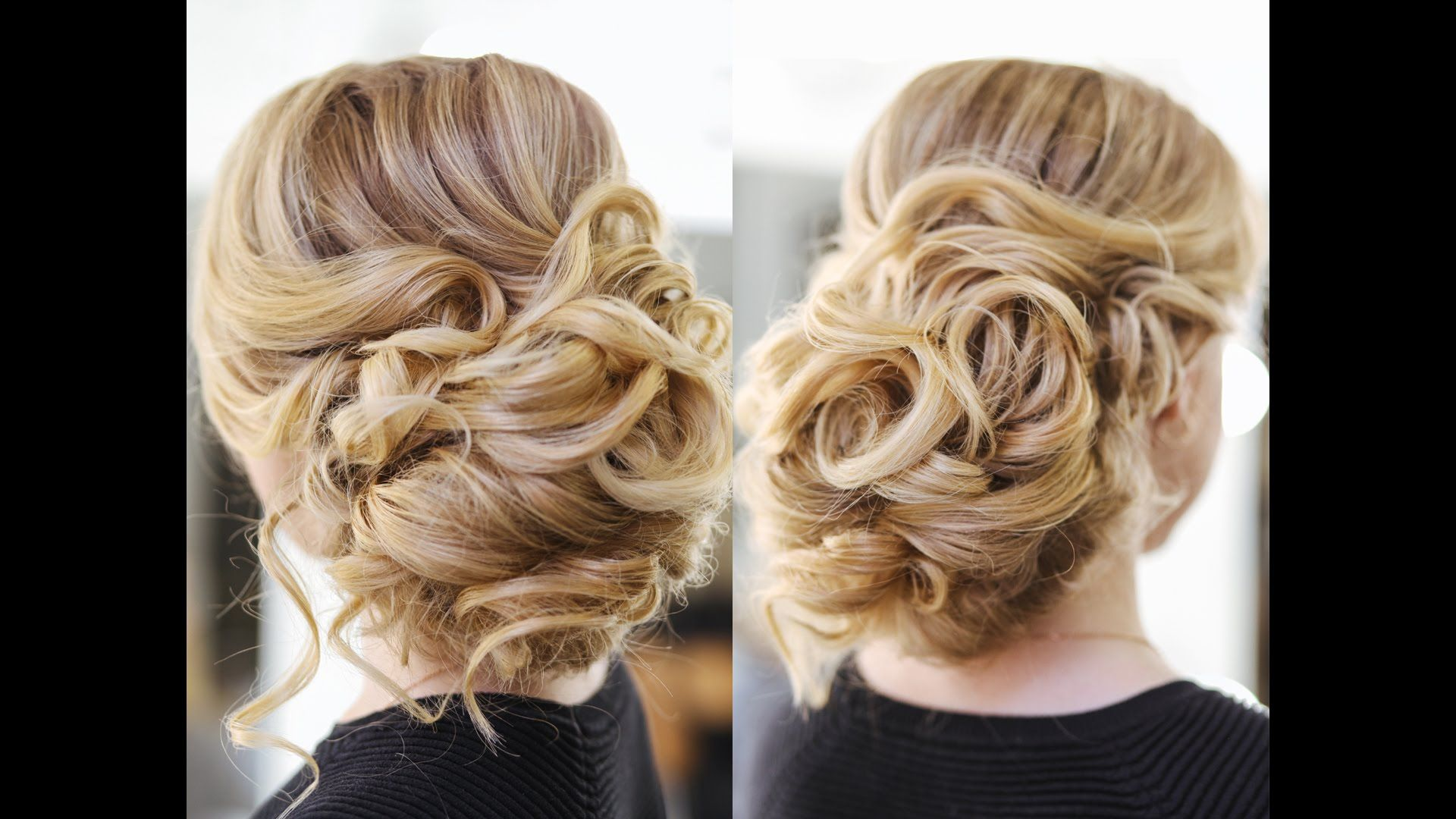 this video teaches how to do a beautiful, easy updo with big curls
