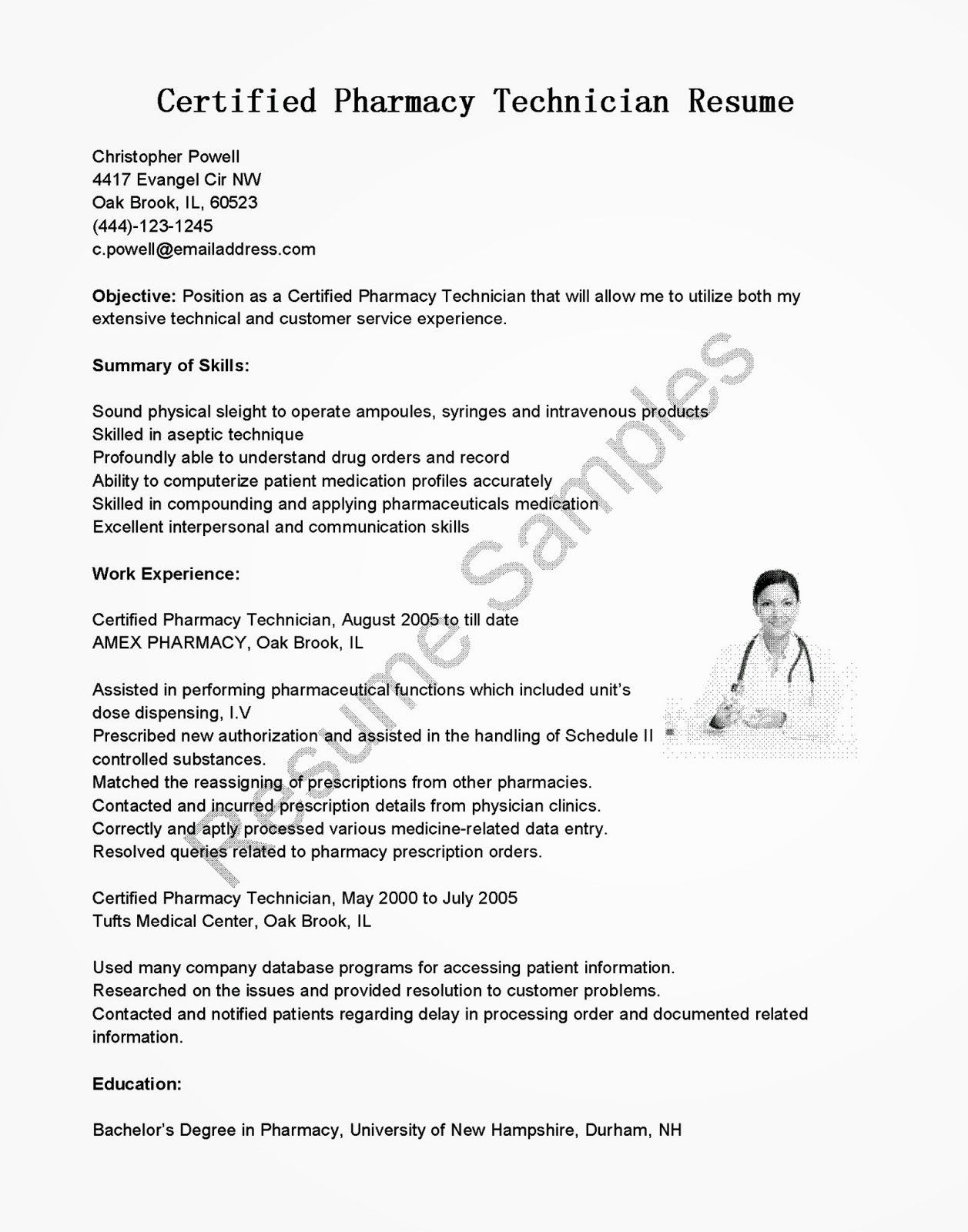 Elegant Resume Samples Certified Pharmacy Technician