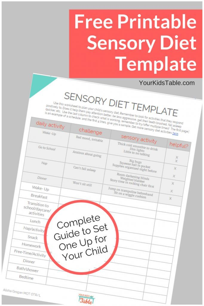 Easy To Use Sensory Diet Template With A Free Pdf Sensory
