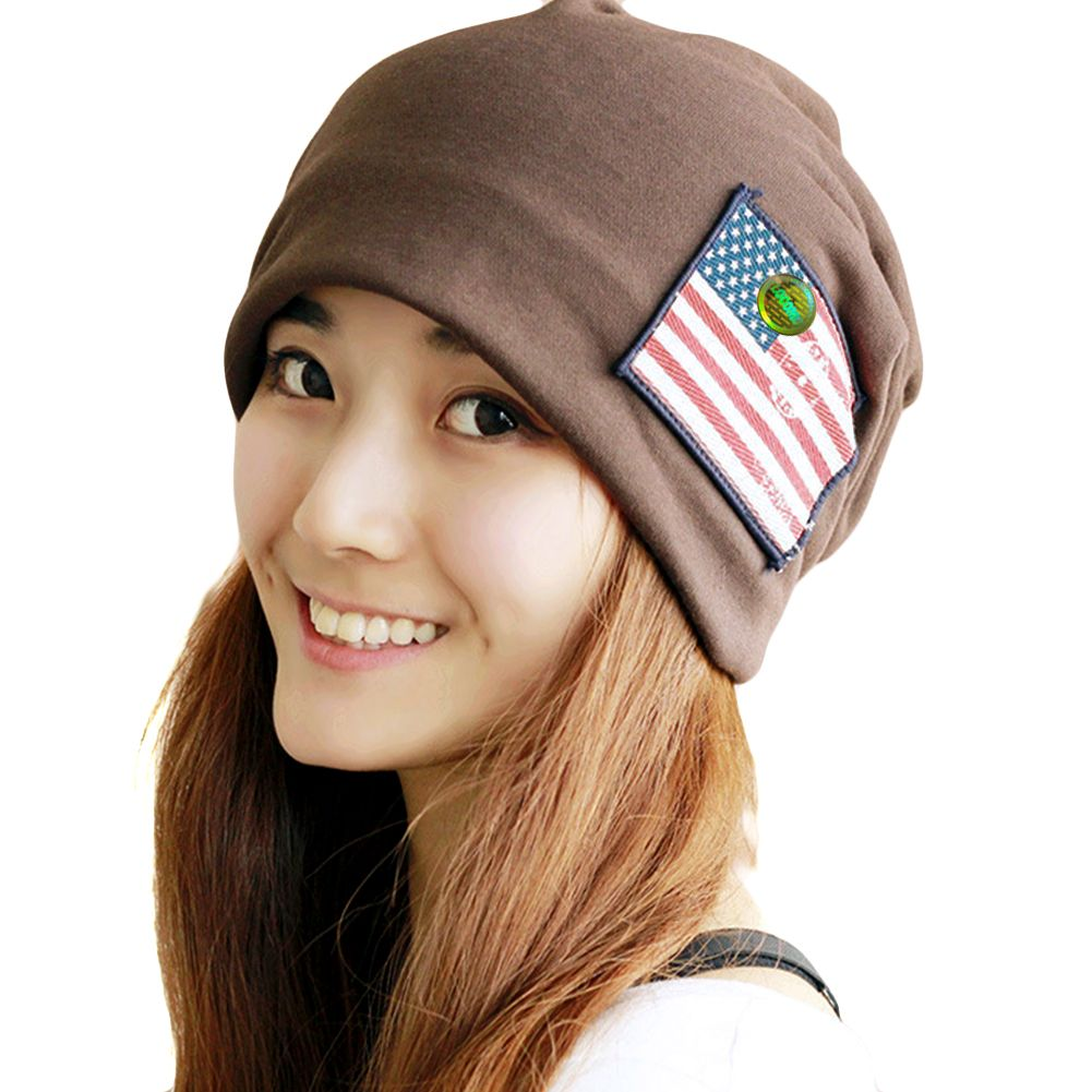 61105f00b07 Women Plain Color US Flag Skull Hat Beanie Brown