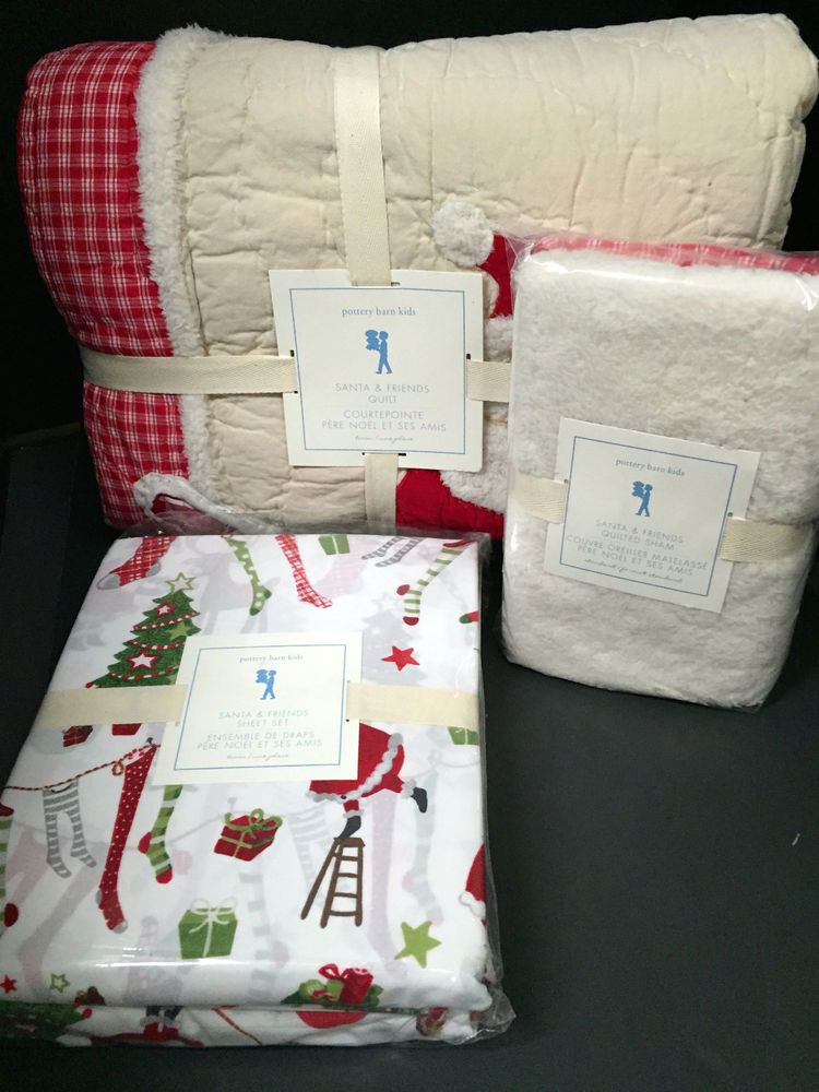 Pottery Barn Kids Santa And Friends Twin Quilt Sham Cotton