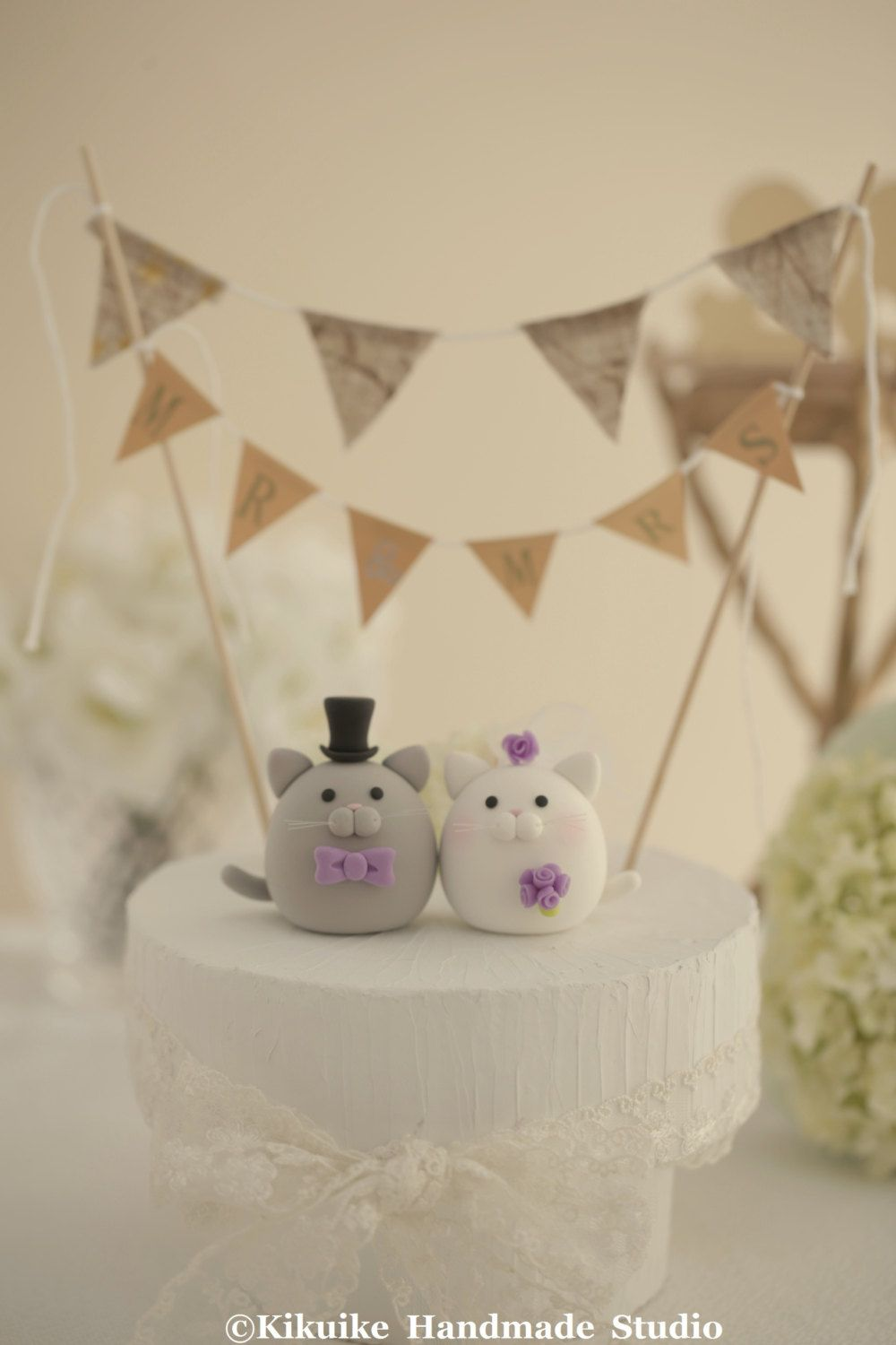 kitty and Cat wedding cake topper by MochiEgg on Etsy, $65.00