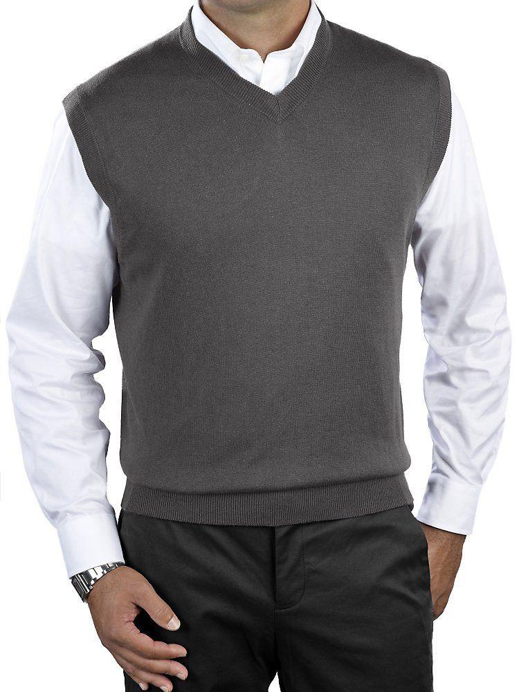 Men's Silk, Cotton, Cashmere V-Neck Sweater Vest | Mens Warm ...