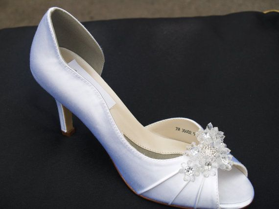 SALE Wedding Shoes White Satin Beautifully by NewBrideCo on Etsy, $89.00