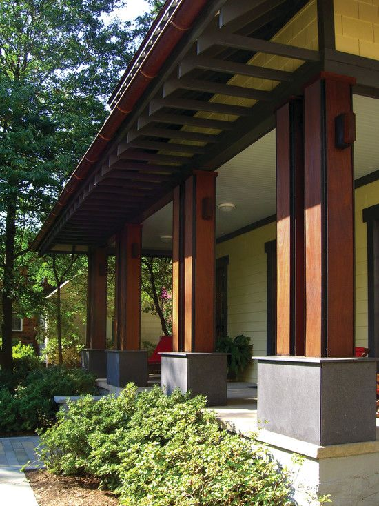 Craftsman Front Doors Craftsman Porch Facade House: Front Porch On Mid Century Modern Homes Design, Pictures, Remodel, Decor And Ideas
