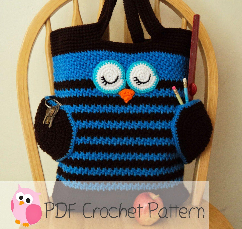 Cute Little Crafts: Crochet Pattern:Sleepy Owl Tote Bag   Crafts ...