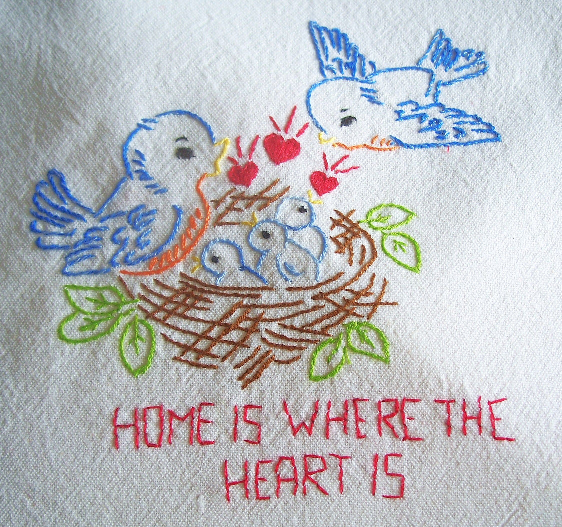 "Tea Towels Myer: Embroidered ""Home Is Where The Heart Is"" Blubird Tea Towel"