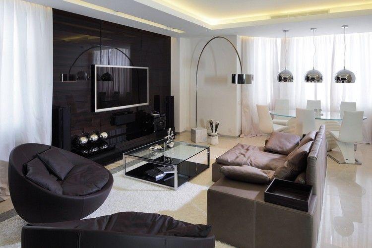 einrichtungsbeispiele-wohnzimmer-modern-einrichten-schwarze-wohnwand - wohnzimmer modern einrichten tipps