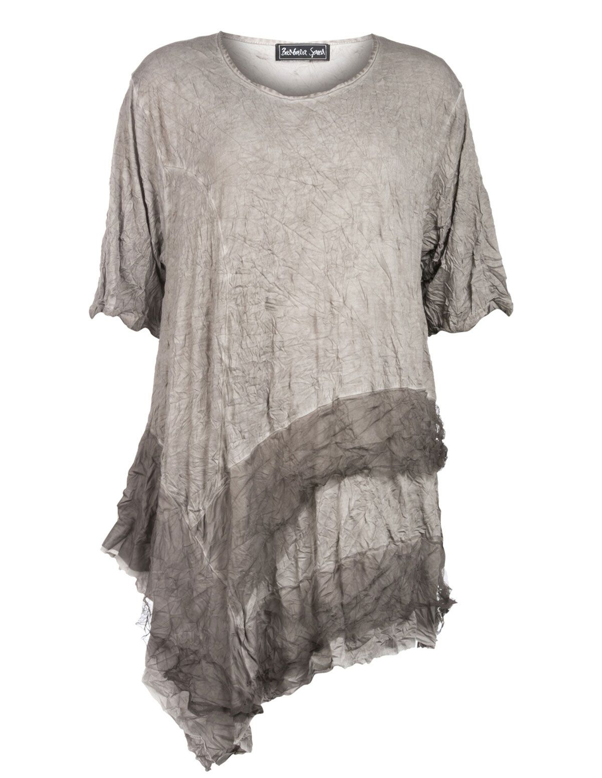 Genial Barbara Speer Geknittertes Shirt Mit Netzstoff In Taupe Grau / Wash Out