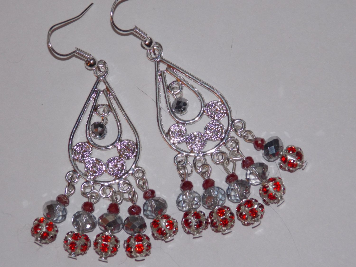 Red silverplated rhinestone sparkling silver and red crystal red silverplated rhinestone sparkling silver and red crystal chandelier earrings arubaitofo Choice Image