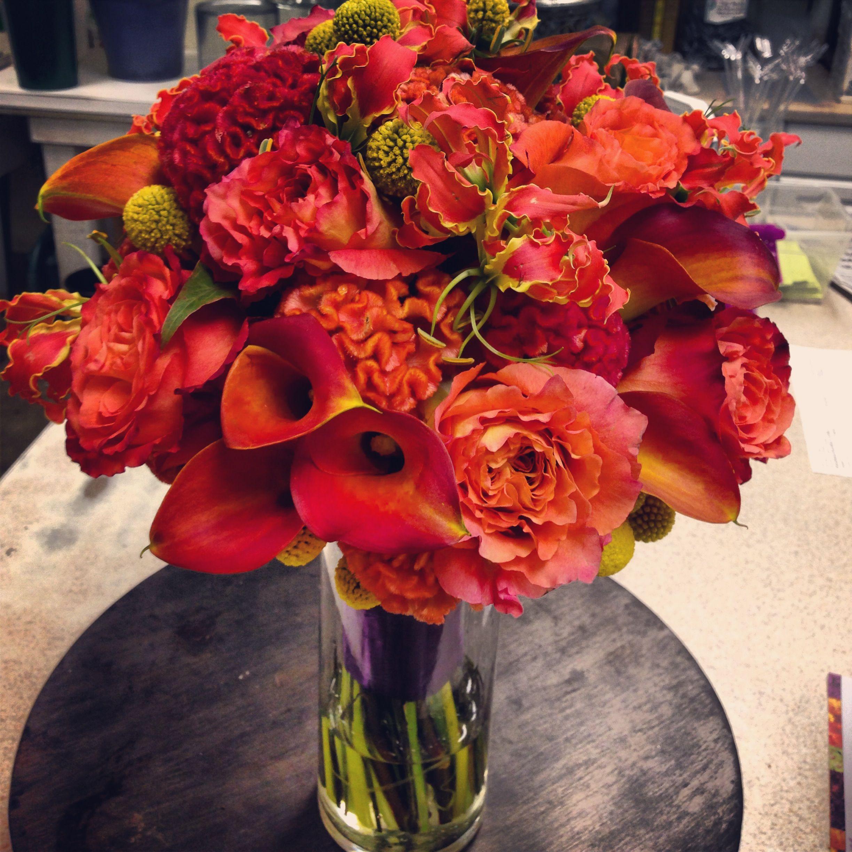 Fall Bouquet Orange Gloriosa Orange Coxcomb Crespedia My Work