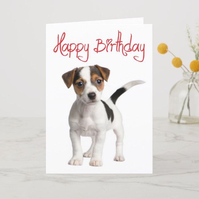 Jack Russell Terrier Puppy Dog Birthday Card Zazzle Com Dog Birthday Card Jack Russell Terrier Puppies Dog Birthday