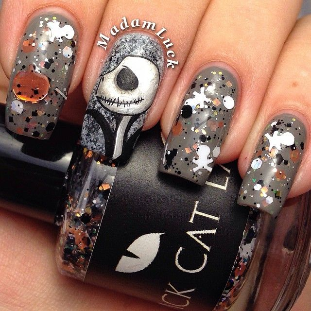 Phenomenal Jack Skellington nail art by Madam Luck incorporating Black Cat  Lacquer 'The Pumpkin King - Phenomenal Jack Skellington Nail Art By Madam Luck Incorporating