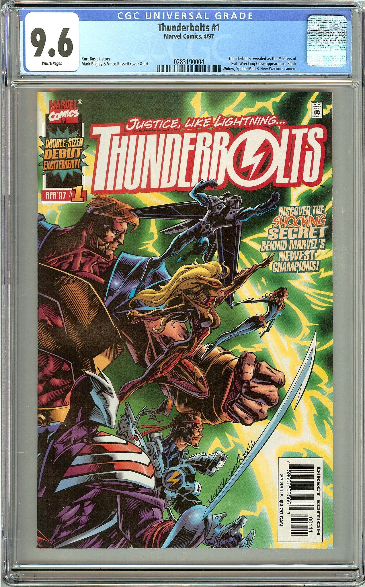 Thunderbolts #1 (1997) CGC 9.6 White Pages 0283190004