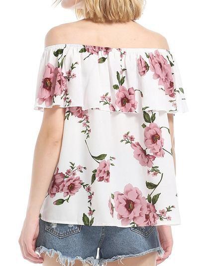 White Ruffled Chiffon Short Sleeve Floral Blouses #chiffonshorts