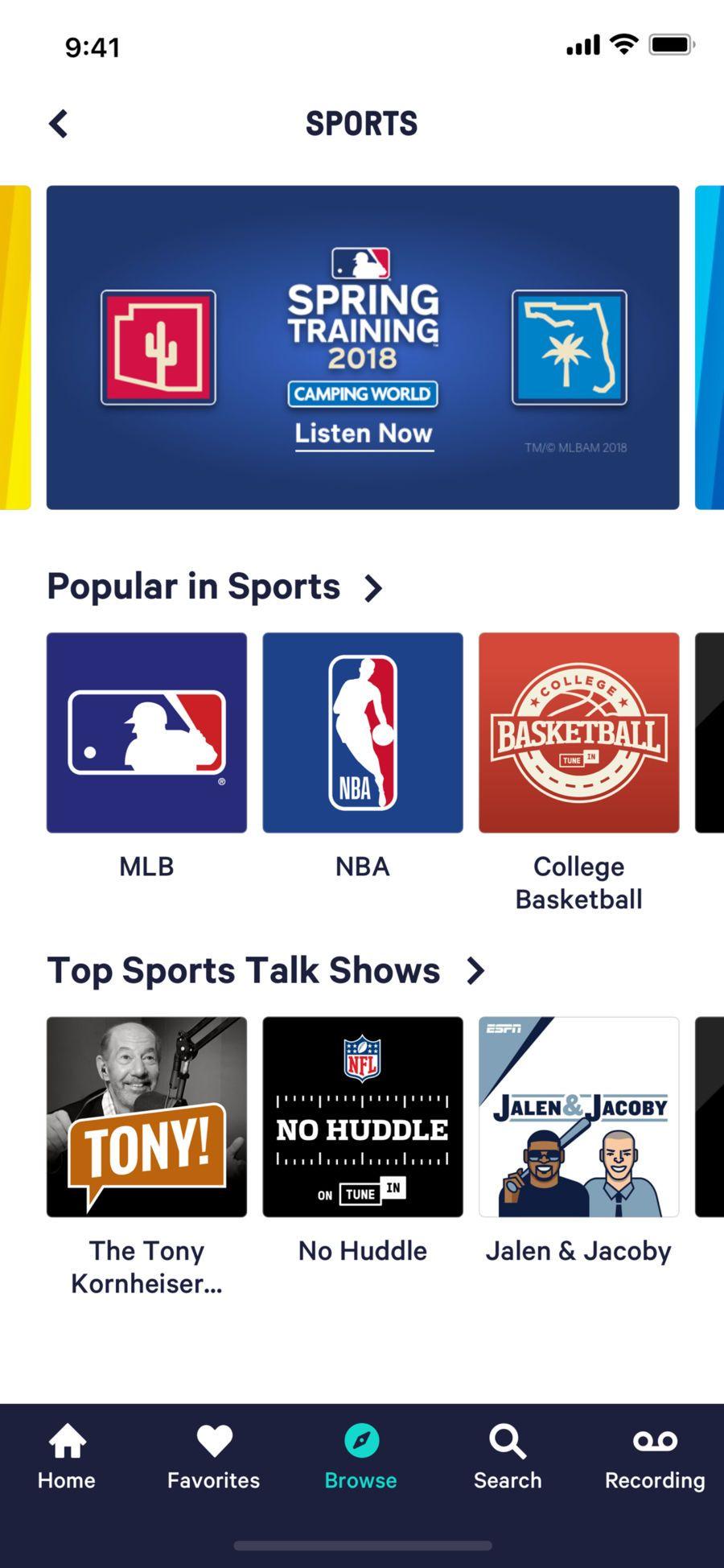 TuneIn Pro Radio Sport radio