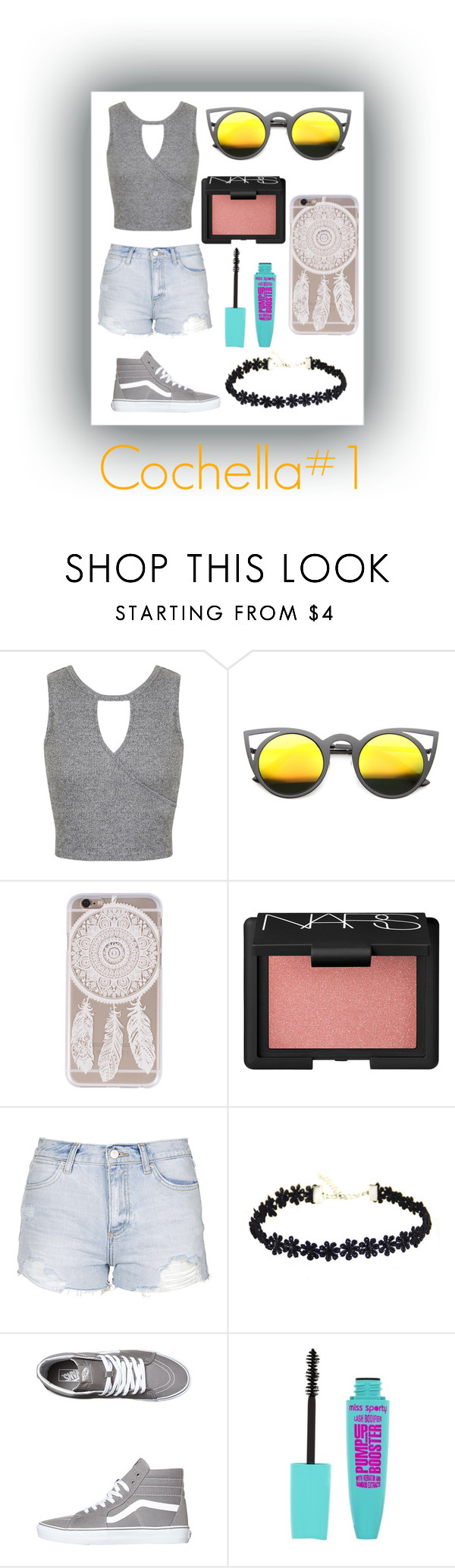 """Cochella#1"" by elinajuslin ❤ liked on Polyvore featuring Miss Selfridge, NARS Cosmetics, Topshop and Vans"