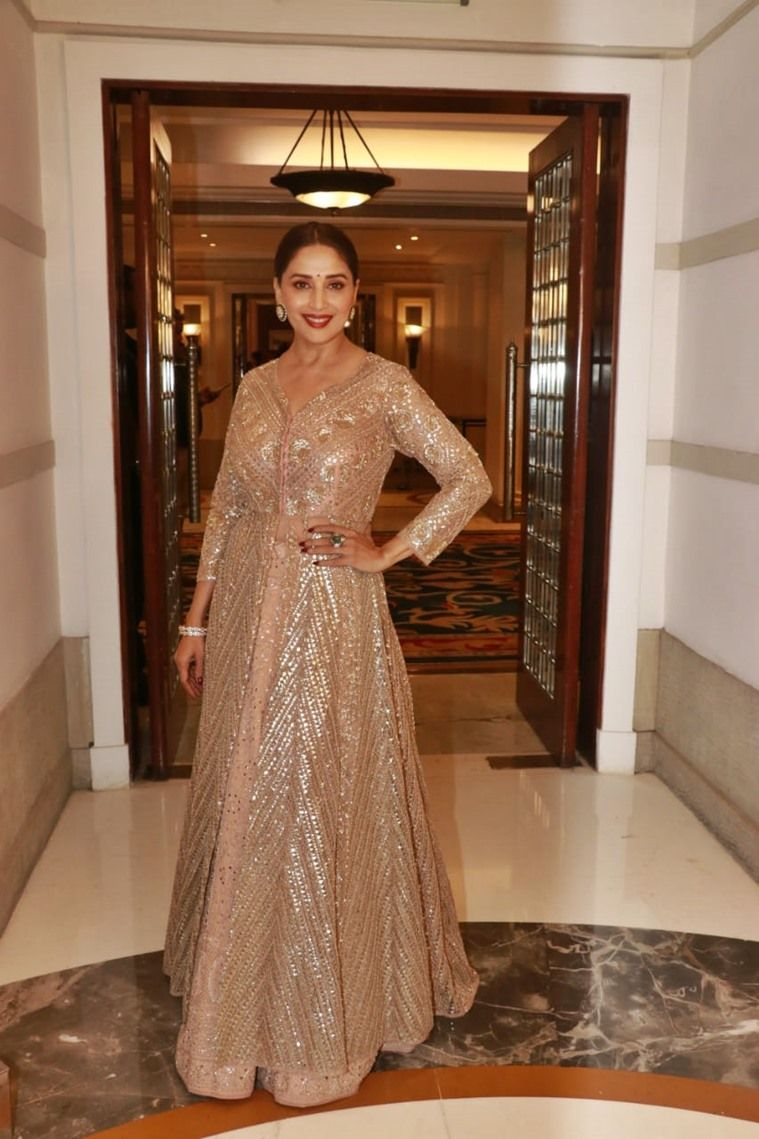 Madhuri Dixit Stuns In This Mirror Work Ensemble See Pics In 2020 Fashion Off Shoulder Gown Formal Dresses Long