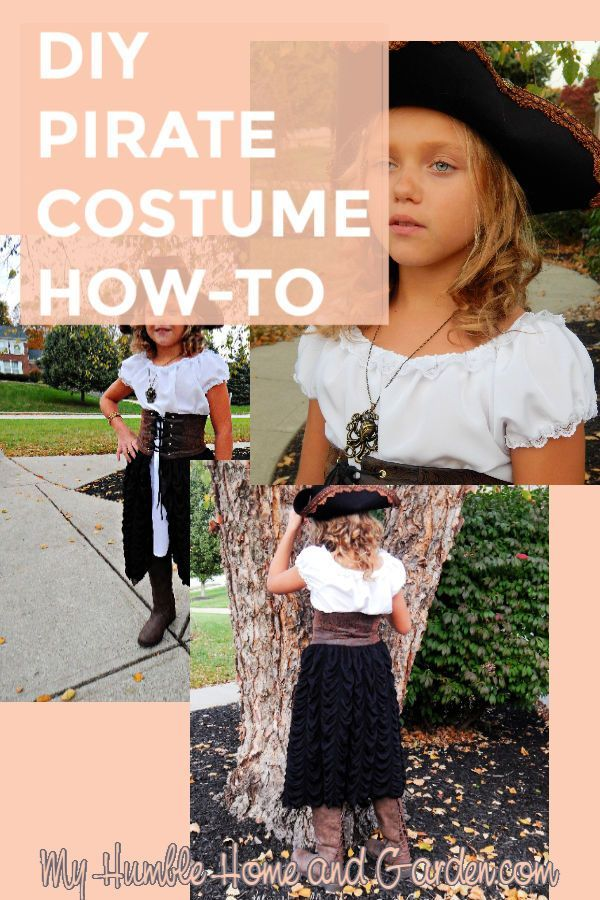 DIY Pirate Costume - How-To - Your Little Girl Would Love This #diypiratecostumeforkids Your Little Girl Would Love This DIY Pirate Costume, too!  Click through for step by step directions for making this DIY pirate costume!  Link for making the pirate hat, too!  #pirate #costume #piratehat #halloween #costume #holiday #girl'scostume #diypiratecostumeforkids