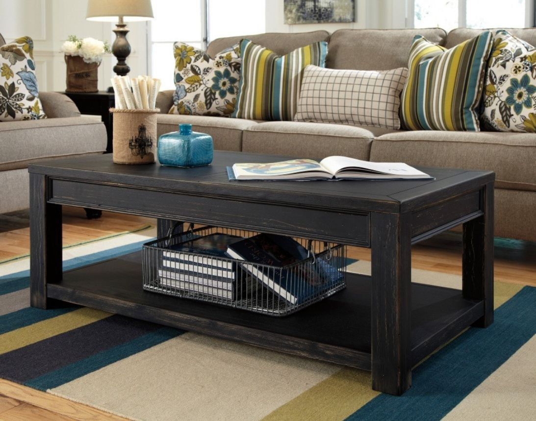 Distressed Weathered Coffee Table Black Coffee Tables
