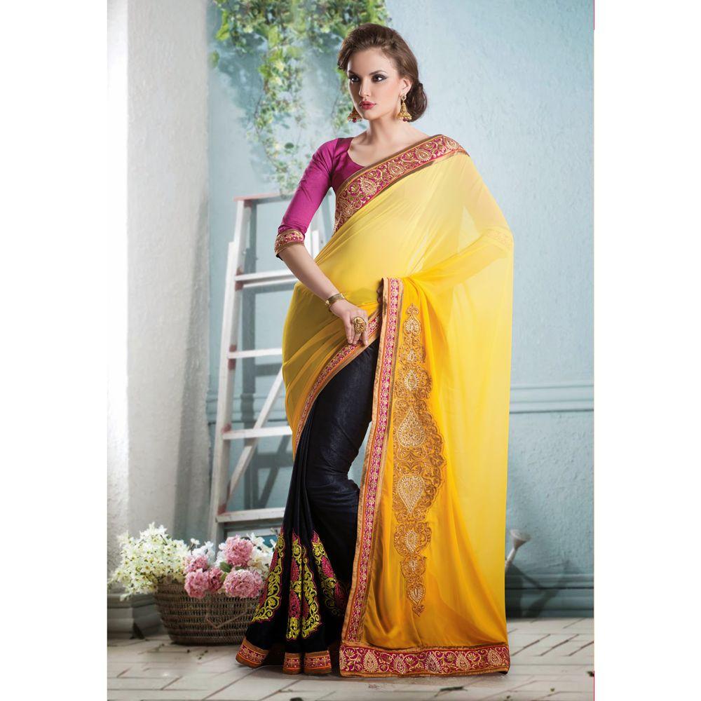 Velvet saree images black yellow faux georgettevelvet saree  ethnic wear  pinterest