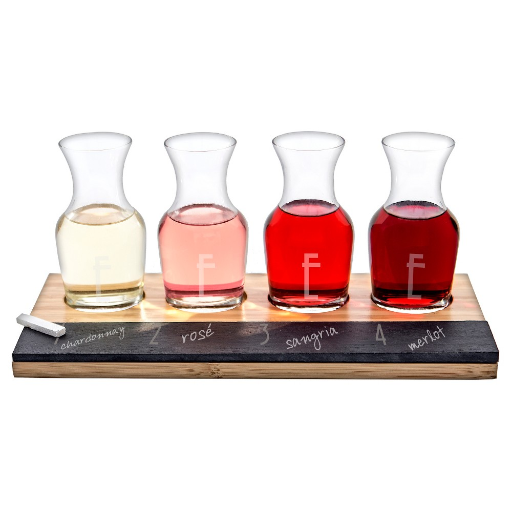 Host Your Own Wine Tasting Party In Style Using This Cathy S Concepts 4pc Monogram Bamboo And Slate Wine Ta Wine Tasting Glasses Wine Tasting Wine Decanter Set