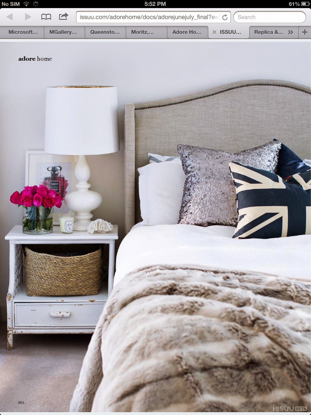 Erins Room Fabulous Bedroom With Gray Linen Headboard With Nailhead