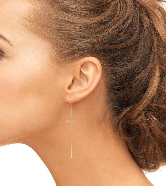 14k gold starburst diamond threader earrings diamond cluster