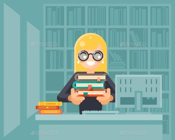 Librarian Girl Holding Book Library Knowledge
