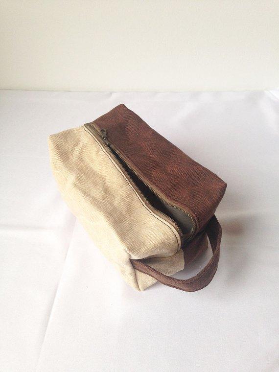 f6f7c1b5130 Hemp Dopp Kit. Brown Travel Bag Mens. Mens Travel Toiletry Bag. Dopp Kit  Canvas. Waxed Dopp Bag. Gif