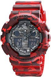 c9ade3598 Casio G-Shock Grey Graphic Dial Red Camo Resin Quartz Men's Watch GA100CM-4A