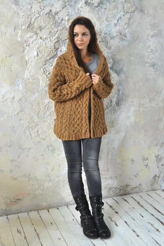 The handmade jacket a hood is made with knitting needles, the rich tweed will accentuate your personality and lift the mood in any bad weather, the material is soft and pleasant, the size is universal, you can wear with any pants, skirts, to dress, etc. The size is universal --- all the products in