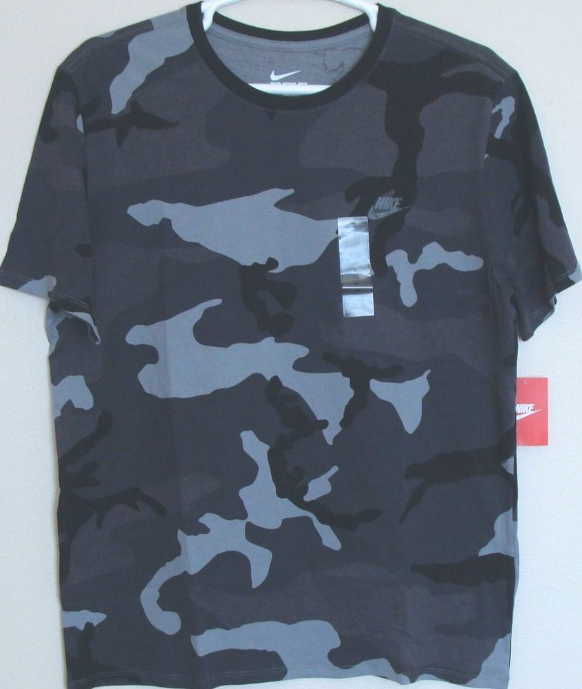 21dc9d00 NWT Nike Men's Futura 2 Camo Cotton T Shirt Tee Size XL Black/Grey  685391-065 #Nike #GraphicTee