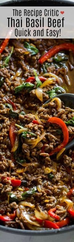 This Quick And Easy Thai Basil Beef Is Made With Ground Beef And A Homemade Thai Basil Sauce Beef Recipes Easy Healthy Snacks Recipes Ground Beef Recipes Easy