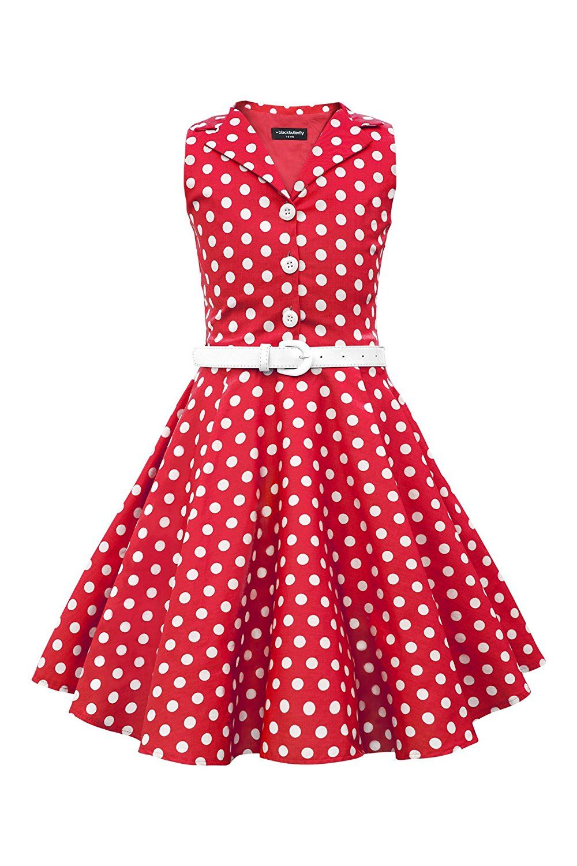 48bbafa7 Kids 1950s Clothing & Costumes: Girls, Boys, Toddlers BlackButterfly Kids  Holly Vintage Polka Dot 50s Girls Dress $31.99 AT vintagedancer.com