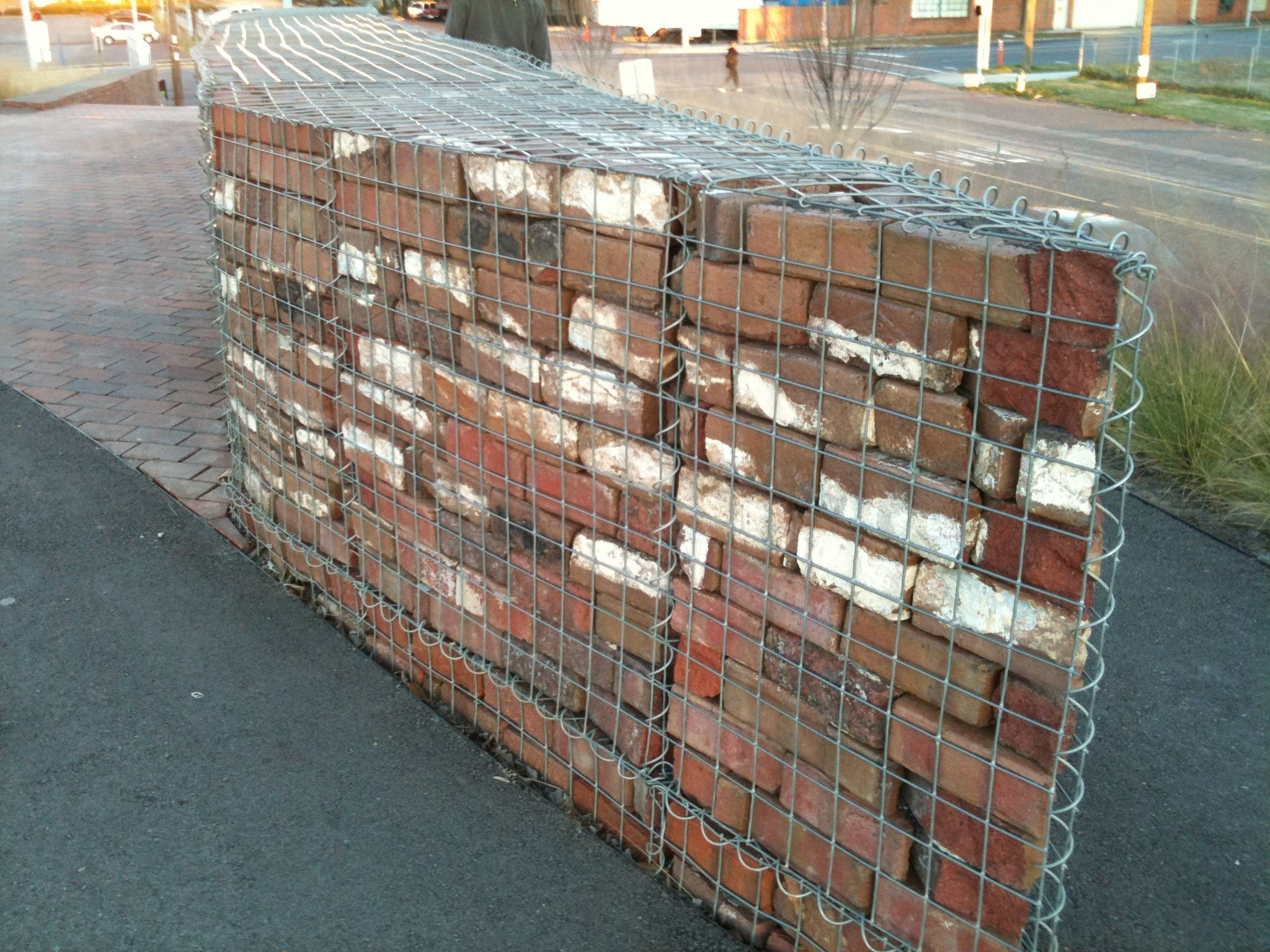 Recycled brick gabion at railroad park birmingham gabions pinterest - How to build an alley out of reused bricks ...