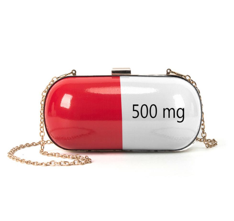Pill Capsule 3d Clutch Bag