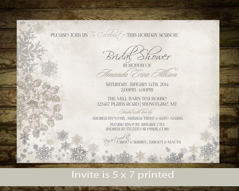 diy cd wedding invitations%0A Winter Bridal Shower Invitation  Snowflake Invitation  Printable   DIY   Digital File Silver and Gold Snowflake Rustic Bridal Shower Digital by
