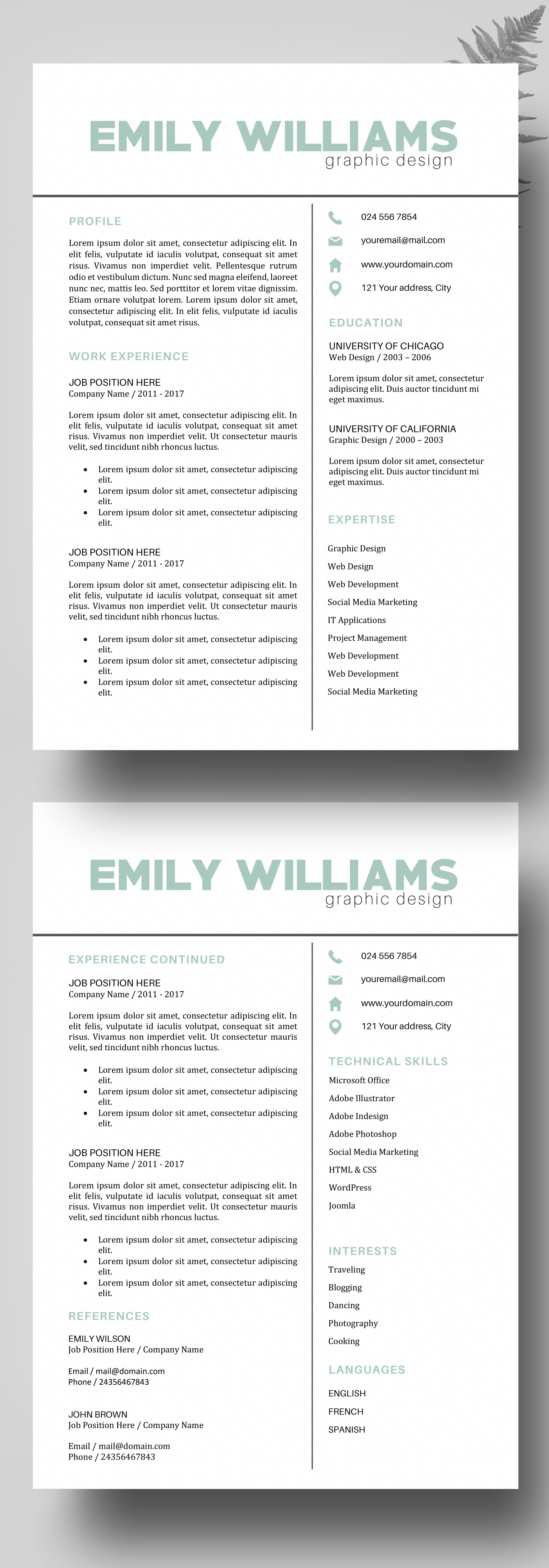 Resume Template - CV Template for MS Word - Professional Resume ...