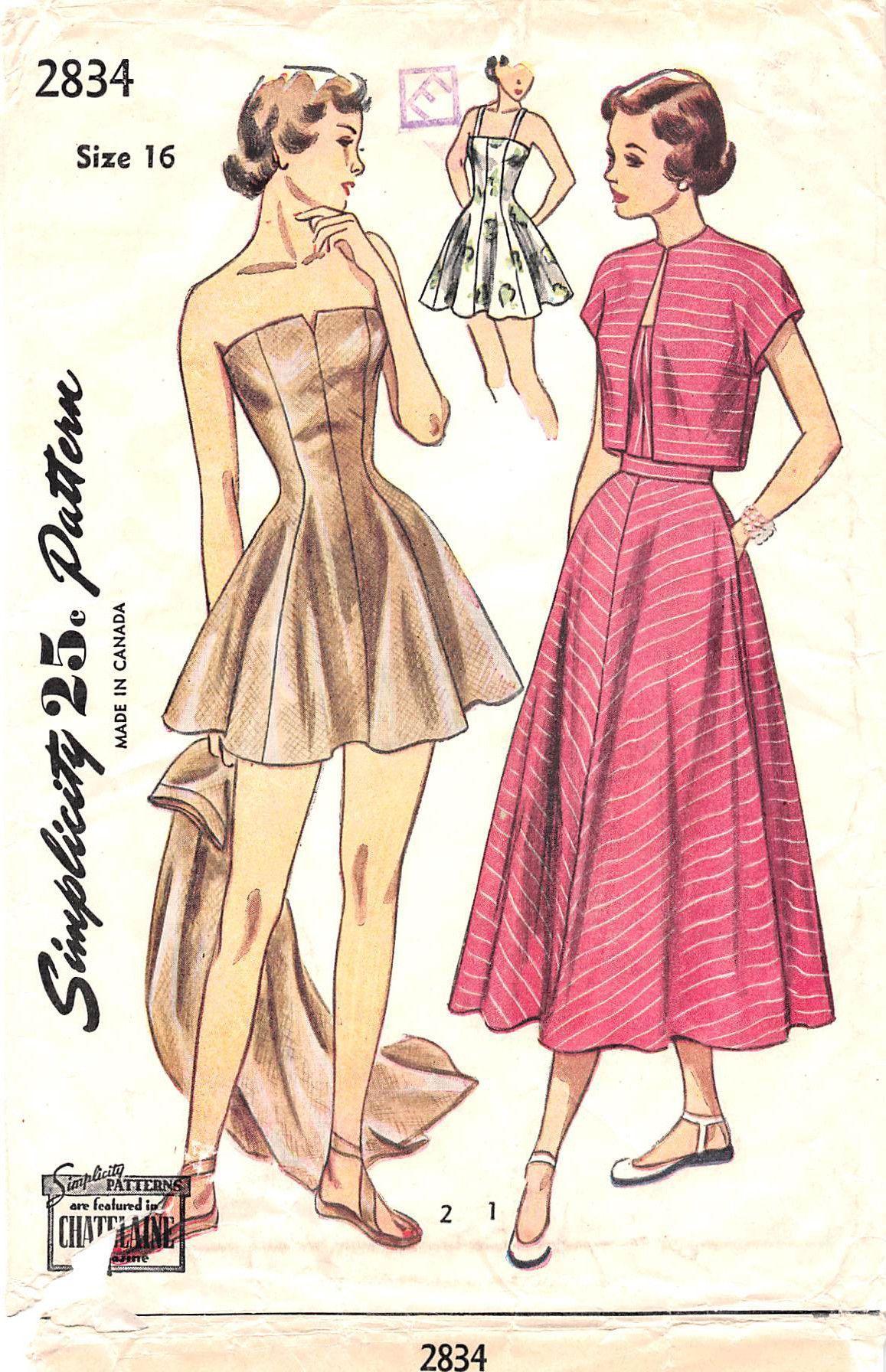 Simplicity 2834 - from 1949 - uncut - misses bathing suit, skirt ...