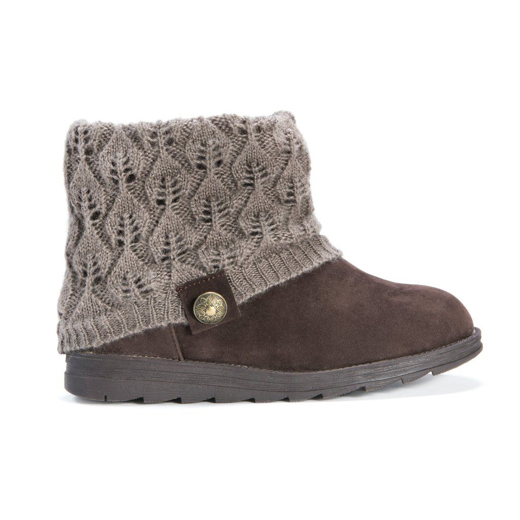Medium brown faux suede winter ankle bootie with a grey sweater knit upper and decorative button.