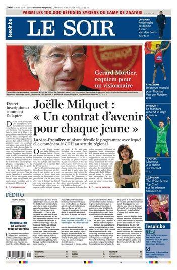 Journal Le Soir du 10.03 – édition numérique et PDF
