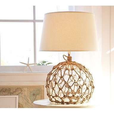 Good Nautical Fiber Fish Net Beachy Table Lamp With Navy Blue Shade