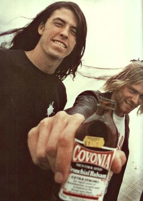 Dave Grohl & Kurt Cobain. I might be over Nirvana for the next decade or so (between myself and the radio, I played them out in the 90's and need a break), I still love them!