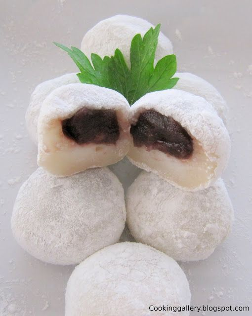 Red bean mochi  Sweet sticky rice cakes filled with sweet