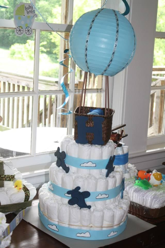 baby shower diaper cake contest hot air balloon that blew me away first pregnancy diaper. Black Bedroom Furniture Sets. Home Design Ideas