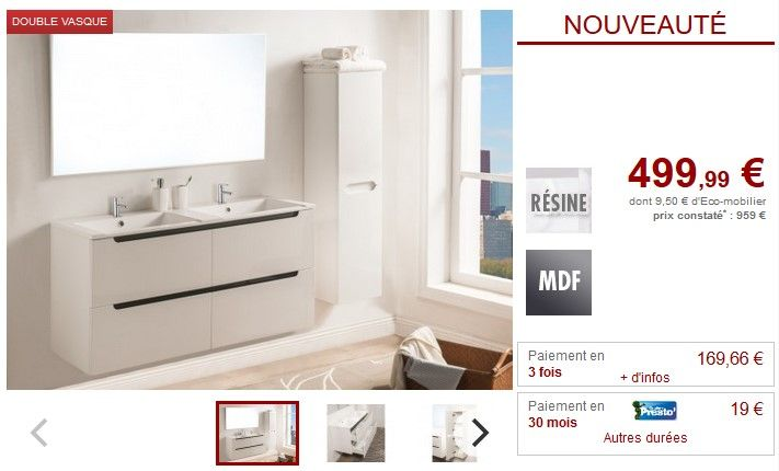 Meubles salle de bain SELITA double vasque + colonne Laqué blanc pas